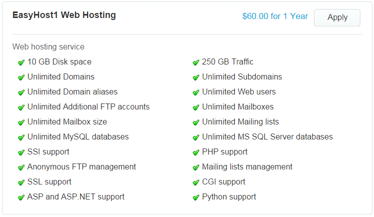 Plan and Pricing of Windows ASP.NET Hosting Providers
